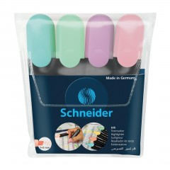 Job Pastel Highlighters, Wallet 4 pieces - Assorted