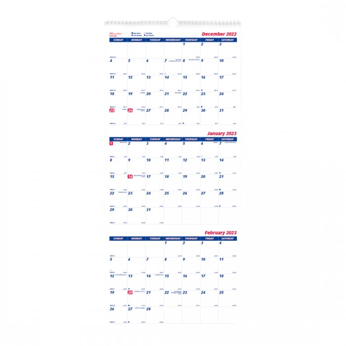Three-Month Wall Calendar 2021