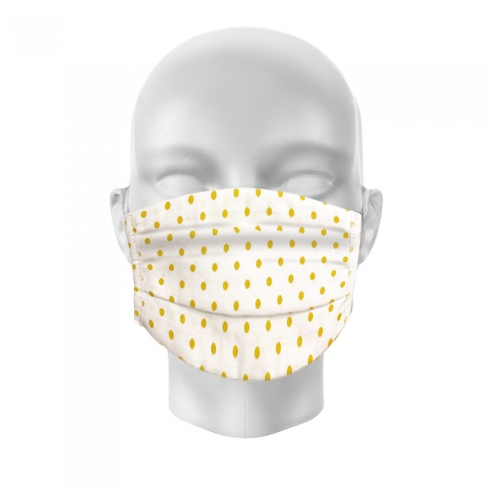 Face Mask - Pack of 2 - White Yellow Dot